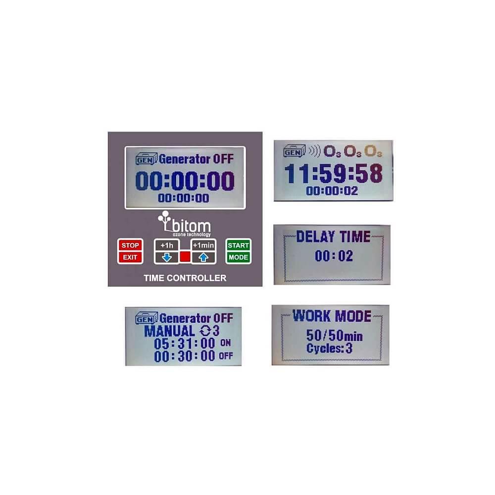 generator ozonu ozonator x-pro air 20 widok wyświetlacza, sterowanie